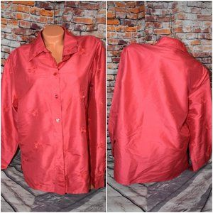 Silk Club XL 100% Silk Artwork Pocket Button Shirt